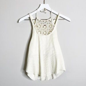 Free People White Crochet Layered Halter Tank Top